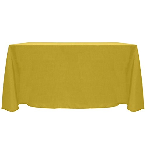 Ultimate Textile (2 Pack) Reversible Shantung Satin - Majestic 90 x 132-Inch Rectangular Tablecloth - for Weddings, Home Parties and Special Event use, Gold