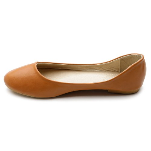 Ollio Scarpa Da Donna Balletto Basic Leggero Comfort Tacco Basso Piatto Marrone