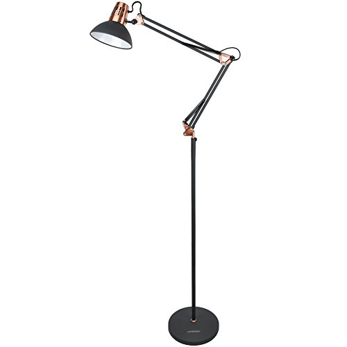 LEPOWER Metal Floor Lamp, Architect Swing Arm Standing Lamp with Heavy Duty Metal Base, Adjustable Head Reading Light with On/Off Switch for Living Room, Bedroom, Study Room and Office