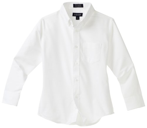 Izod boys Long Sleeve Solid Button-Down Oxford Shirt, White, 10R -