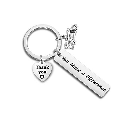 FOTAP Thank You Gift for School Bus Driver You Make a Difference Keychain End of The School Year Gift (schoolbus Keychain)