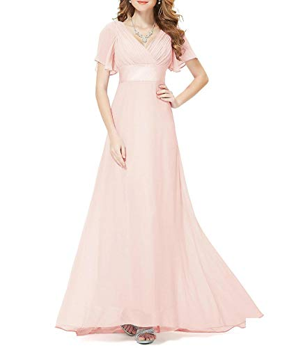 - Evening Dresses Padded Trailing Flutter Sleeve Long Women Gown Chiffon Summer Style Special Occasion Dresses,Pink,6,United States