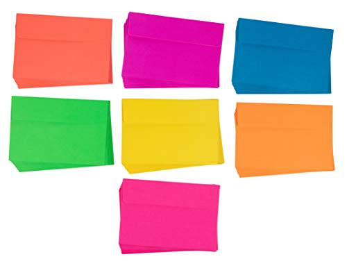 Neon A4 Envelopes - 112-Count Invitation Envelopes, 4 x 6 Gummed Seal Square-Flap Invite Envelope for Wedding, Birthday, Baby Shower, Greeting Card, 120gsm, 7 Assorted Colors, 4.25 x 6.25 Inches]()