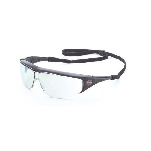 Harley-Davidson HD401 Safety Glasses with Black Frame and Mirror 50 Tint Hardcoat Lens (50 Lens Mirror)