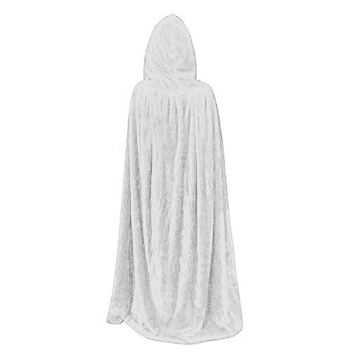 JIANLANPTTAdult Elf Witch Long Carnival Halloween Cloaks Hood Capes Costumes Women Men Solid White 150(Height170-190cm) -