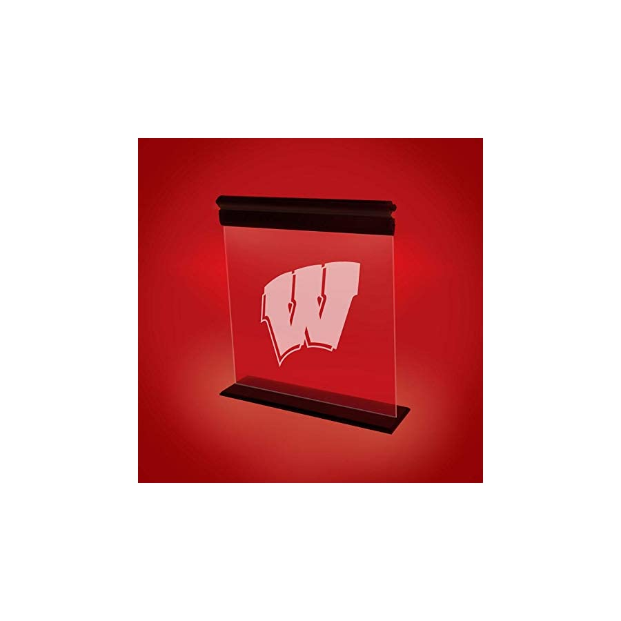 WISCONSIN BADGERS ACRYLIC LED LIGHT DISPLAY MAN CAVE OFFICE