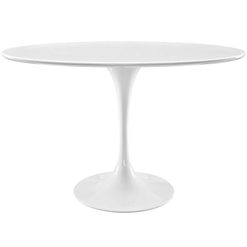 Modway Lippa Mid-Century Modern Oval Dining Table with Pedestal, 48 , White Base