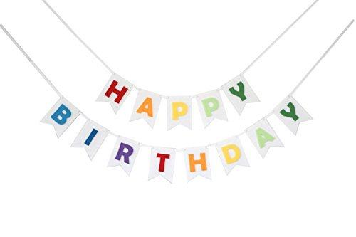 Feliz Cumpleaños Banner Bunting cortado con láser fieltro 127cm Amplia–Arco Iris