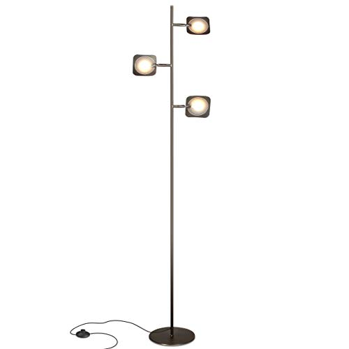 Brightech Tree Spotlight LED Floor Lamp - Very Bright Reading, Craft and Makeup 3 Light Standing Pole - Modern Dimmable & Adjustable Panels, Minimal Space Use - -