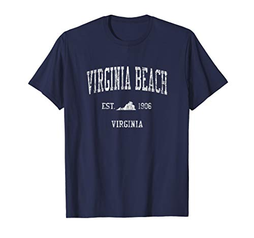 Virginia Beach VA T-Shirt Vintage Sports Design Tee ()