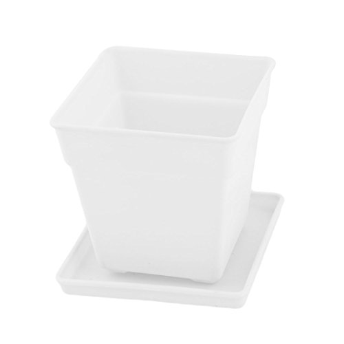 plastic plant pot white - 8