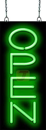 Classic Neon Open Green Sign Vertical