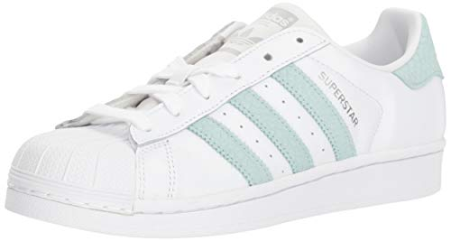 (adidas Originals Women's Superstar Running Shoe, White/ash Green/Silver Metallic, 8 M US)