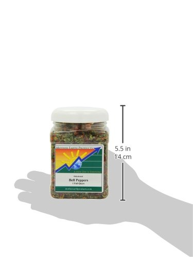 :Mother Earth Products Dried Mixed Bell Peppers, Red And Green, Quart Jar, Net Wt 9oZ (225g)