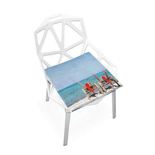 Pingshoes Seat Cushion Merry Christmas Beach Vacation Pattern Chair Cushion Offices Butt Chair Pads Square Car Mat for Student (Chair Uwharrie Garden)