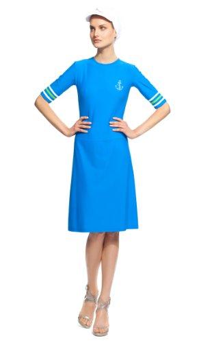 Modestsea Women's Moderate Cover Swim Dress-L-Electric Blue