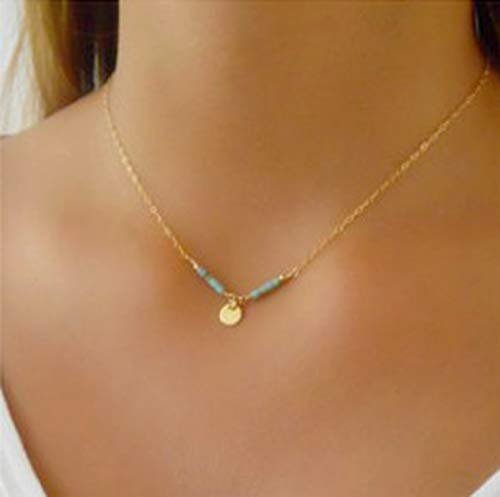 (Fstrend Necklace Gold Coin Turquoise Sequins Pendant Chain Party Short Necklaces Fashion Jewelry for Women and Girls)
