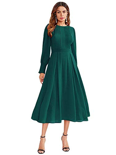 Milumia Women's Elegant Frilled Long Sleeve Pleated Fit & Flare Dress (L, Green-2)