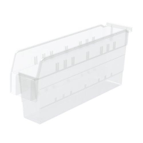 Akro-Mils 30848 ShelfMax 8 Plastic Nesting Shelf Bin Box, 18-Inch x 4-Inch x 8-Inch, Clear, 8-Pack