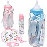 Baby Bottle Gift Bank with Bottle and Accessories Choose Pink or Blue