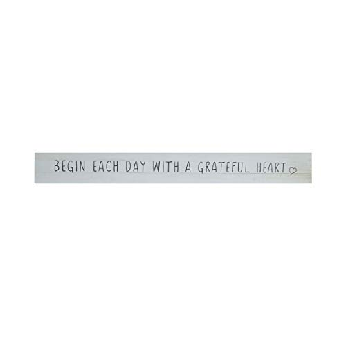 NIKKY HOME Wooden Rectangle Wall Plaque Sign with Inspirational Quote Begin Each Day with A Grateful Heart (Sign Heart Wooden)