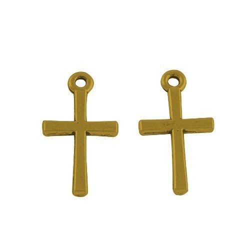 (Pack of 30 x Antique Gold Tibetan 18mm Charms Pendants (Christian Cross) - (ZX02000) - Charming Beads )