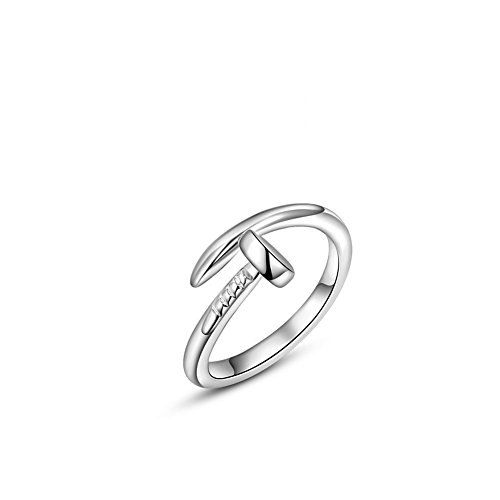 [I's White Gold Plated Trust Love Nail Fashion Ring Holiday Gifts (6) (6)] (Love Ring)