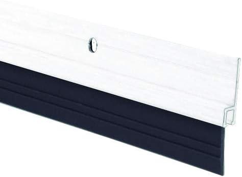 Ferrestock FSKBUR002WH Burlete bajo Puerta de Aluminio con Caucho con Orificios para atornillar y Adhesivo Color Blanco 1 Metro