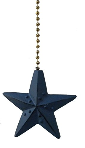 Navy Blue Barn Star Ceiling Fan Pull Decorative Light Chain Double Sided