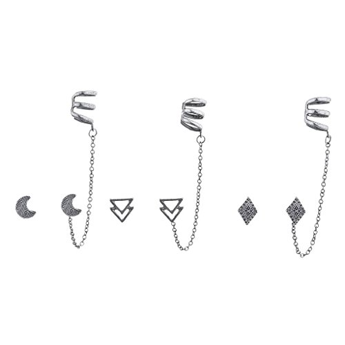 ished Silver Boho Ear Cuff Multi Earring Set (3pc) ()