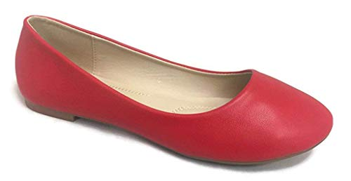 - Bella Marie Stacy-13 Women's Round Toe Suede Leather Slip on Boat Ballet Flat Shoes Red PU 6.5