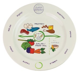"""Bariatric Portion Control Plate 8"""" for Weight Loss Surgery and Monitored Eating. Educational, Visual Tool for adults by Dietitian Amanda Clark with Protein, Carbohydrate and Vegetable Sections"""