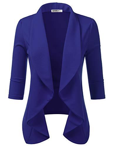 CLOVERY Women's 3/4 Sleeve Casual Work Knit Office Blazer Jacket Royal M