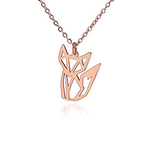 Fox Rose Necklace - AOCHEE Fox Necklace Rose Gold Fox Origami Necklace Fox Pendant Necklace for Women Girls Animal Jewelry