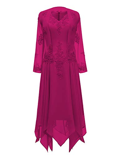 tutu.vivi V-Neck Chiffon Tea Length Mother of The Bride Dress Long Sleeves Lace Formal Evening Gowns with Jacket Fuschia Size18W