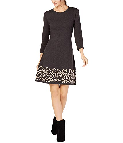 Jessica Howard Womens Contrast Scroll Sweater Dress, Grey, PS