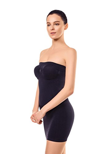 MD Women's Strapless Full Body Slip Shaper Seamless Smoother Tube Slip Under Dresses,Black,Small