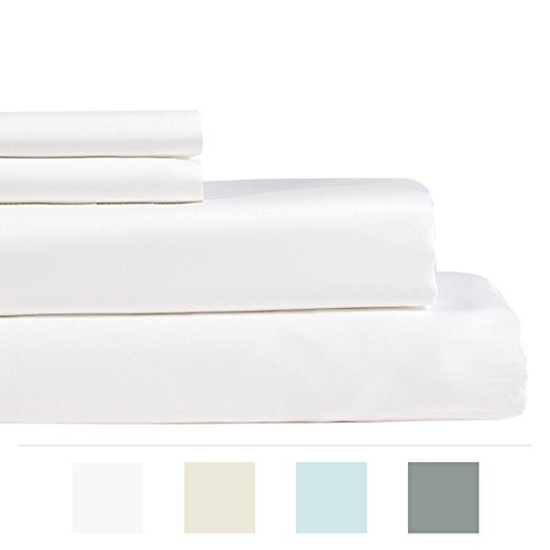 Lavish Lux Bedding 600 Thread Count 100 % Cotton Sateen Weave Silky Soft 4 PC Full Sheet Set - 2 Pillowcases, 1 Flat Sheet and 1 Fitted Sheet, Queen, White