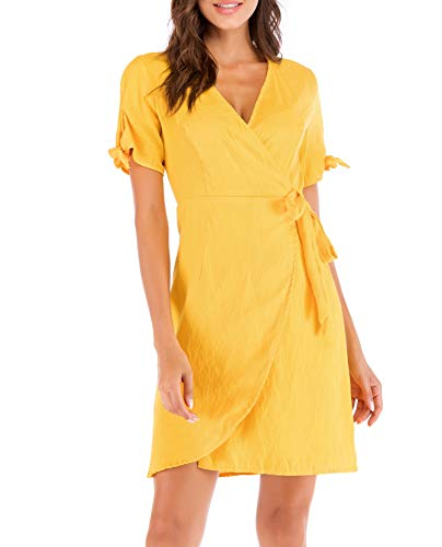 SUNNOW Women's Casual Summer V-Neck Short Sleeves Belted Ruffle Wrap Beach Mini Dress (S(US4-6), Yellow)