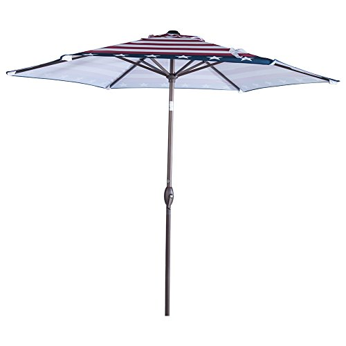 American Flag Umbrella - Abba Patio Outdoor Patio 9-Feet Market Table Umbrella with Push Button Tilt and Crank, Striped Flag