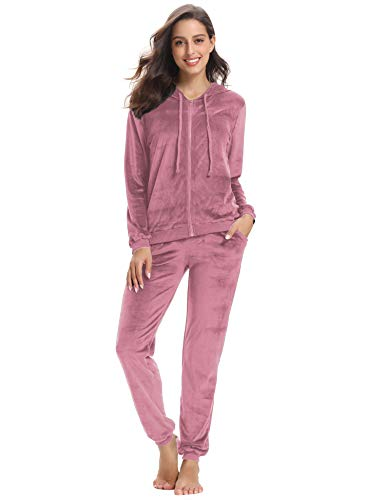 Abollria Women's Long Sleeve Solid Velour Sweatsuit Set Hoodie and Pants Sport Suits Tracksuits Pink