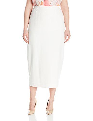 Kasper Women's Plus Size Stretch Crepe Column Skirt, Vanilla Ice, 22W