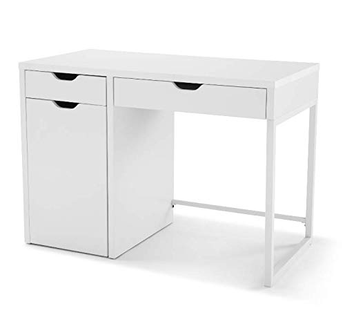 Mainstays White Perkins Desk with Metal Frame with Storage for File Cabinet Ms MS18-D1-1009-33