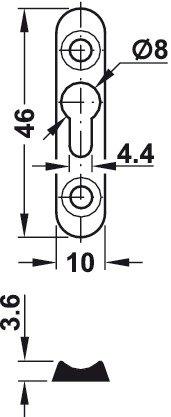 16 x 42 x 3,5 mm Einh/ängebeschlag zum Einlassen oder Schrauben Linsenkopfplatte versenkt einem mit Langloch 10 St/ück Gedotec Schrankaufh/änger LIKO Bettverbinder aus Stahl