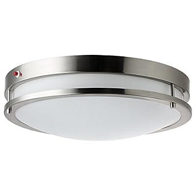 "Sunlite LFX/DCO12/BN/15W/D/30K/EM 12"" Decorative Brushed Nickel Dome Ceiling Light Fixtures"