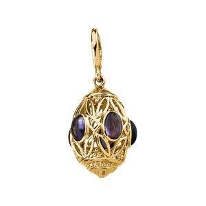 Or jaune 14 carats-Améthyste-authentique 6 x 4 mm-JewelryWeb