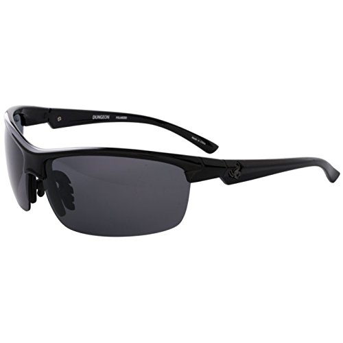 Spiderwire DUNGEON Hunting Safety Glasses, Medium/Large, Smoke and Gloss Black - Sunglasses B Logo