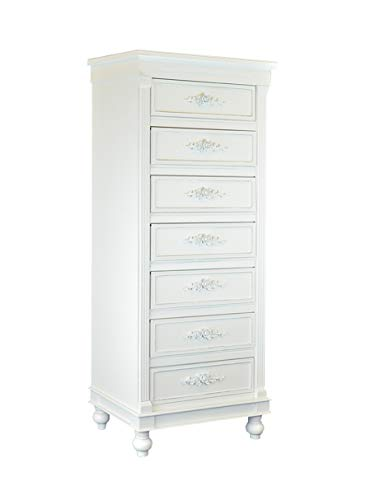 (Chest of Drawers White Dressers Side Cabinet Table w/Rosebuds for Bedroom Livingroom 46 in. 7 Drawers)