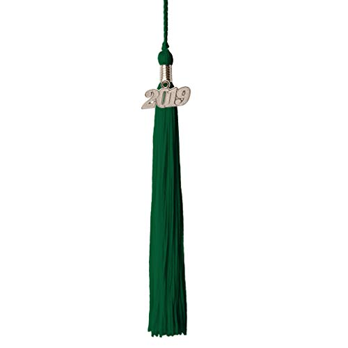 (Class Act Graduation Kelly Green Graduation Tassel with 2019 Silver Charm)