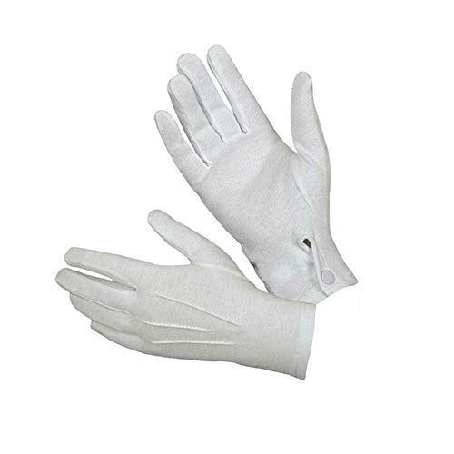 Crytech White Work Gloves, 1/5/8/10 Pairs Formal Cotton Full Finger Button Gloves Coin Jewelry Silver Inspection Gloves for Tuxedo Honor Guard Parade Santa Men Women Working Gloves (8 Pairs)